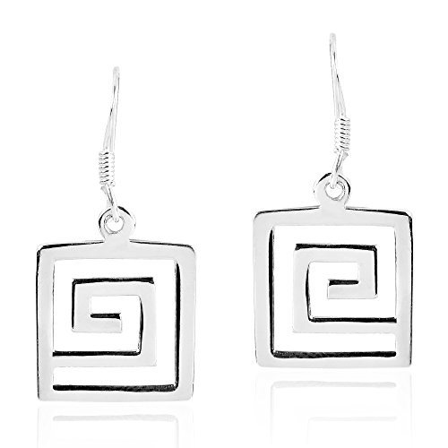 Greek Key Maze Geometric Pattern .925 Sterling Silver Dangle (Sterling Silver Maze)