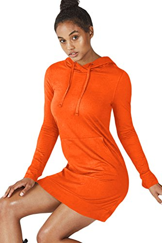 FARYSAYS Womens Casual Swatershirt Long Sleeve Hoodie Dress, Orange, M