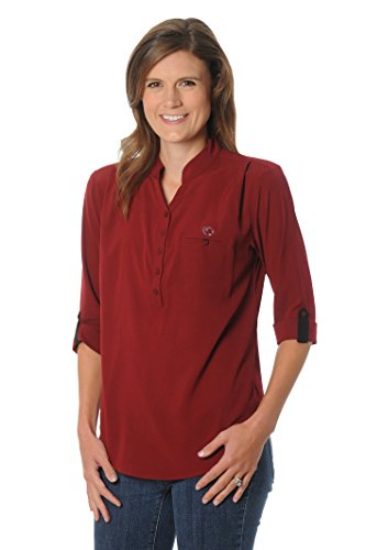 NCAA South Carolina Fighting Gamecocks Women's Button Down Tunic Top, Large, Garnet/Black - Carolina University Embroidery