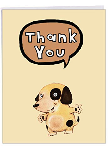 'Fuzzy Tummies Dog' XL Thank You Card With Envelope (8.5