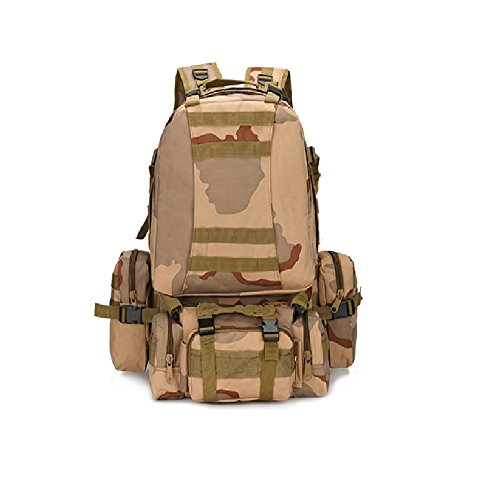 Z&N Backpack Ventiladores militares camuflaje paño impermeable de Oxford morral militar mochila táctica bolso de los hombres que acampa mochila al aire libre caminando mochila de la combinaciónD56L G