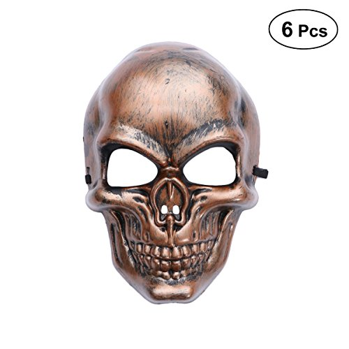 FENICAL Skull Full Mask Vintage Costume Prop for Halloween Masquerade Party (No Battery) Bronze]()