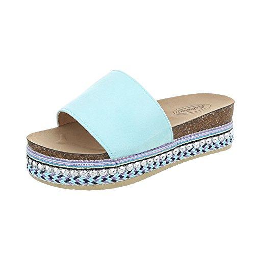 Ital-Design Pantoletten Damenschuhe Sandalen Sandaletten Hellblau G-78