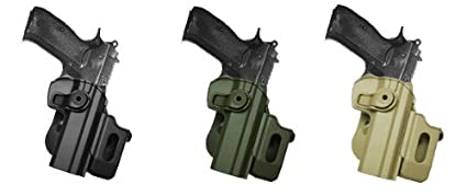 Hand Gun Polymer Retention Roto Holster Fits CZ 75/75B COMPACT/75B OMEGA  (9mm/ 40) with detachable magazine pouch  Black IMI RSR Defence Gun /  Pistol
