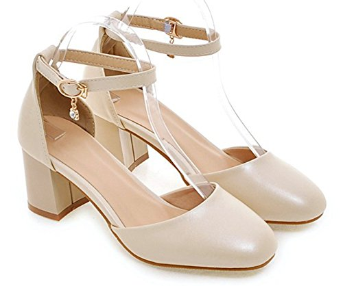 Aisun Damesschouder Sexy Chic Met Gesp Vierkante Neus Dorsay Ruige Mid-pumps Pumps Met Enkelriempje Beige
