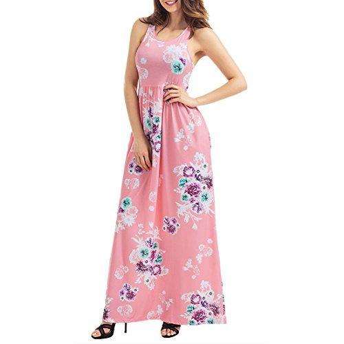 floral vestido rosa mujer maxi mangas moichien largo Ai largo sin qwIcRFZFp