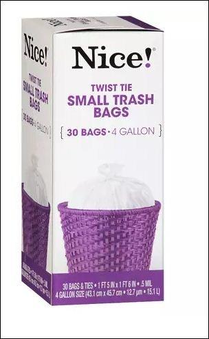 Amazon.com: Nice. pequeñas bolsas de basura 4 Galón 30.0 EA ...