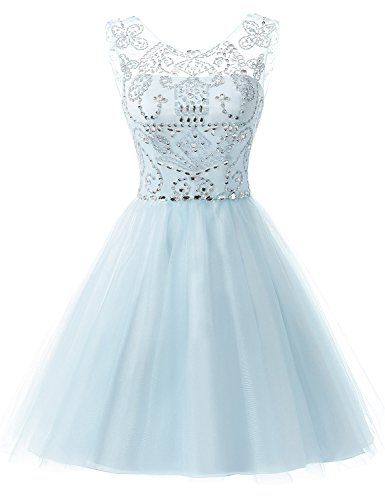 Sarahbridal Women's Short Tulle Prom Party Dresses Beading Crystal Homecoming Gowns Light Blue US6
