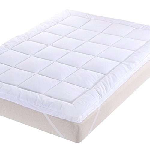Abripedic Plush Cotton MATTRESS TOPPER, King, 2 Inches Hypoallergenic Overfilled Down Alternative Anchor Bands Mattress Topper by Royal Hotel