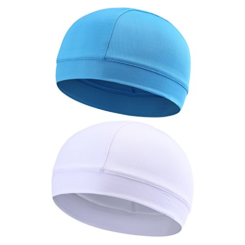 2Packs Skull Cap Quick Dry Sports Sweat Beanie High Elasticity Cycling Caps Headband Sweatband for Man Woman (Blue & (Road Womens Cap)