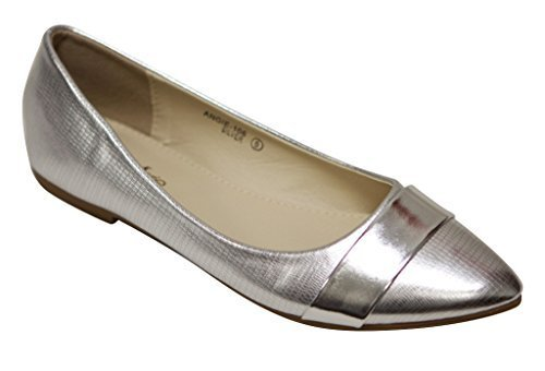 Bella Marie Angie-106 Women's pointy toe boat slip on patent band decor patent leather flats Silver 7