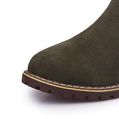 Botas Otoño Hasta amp;xuezi Cuero Vestido Robusto Nobuck El Tobillo Nieve Casual Invierno Negro Moda Semicuero Green De Gll Mujer Tacón YzdEE