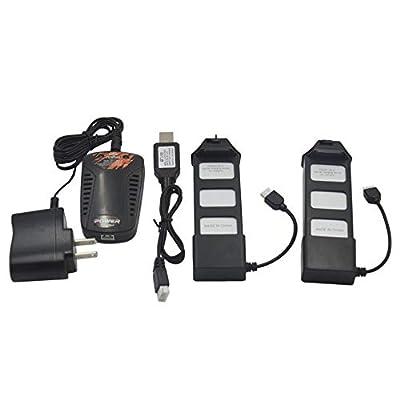 Blomiky 2 Pack Li-Poly 7.4V 1800mAH 25C Battery for MJX Bugs 5W B5W F20 GPS Brushless RC Quadcopter Drone B5W Battery 2