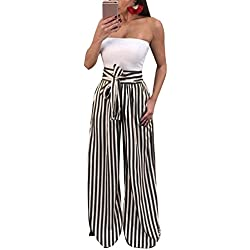 Ybenlow Women's Vertical Striped High Waist Stretch Wide Leg Long Bottom Pallazo Capris Pants with Waist Tie (X-Large, Black)