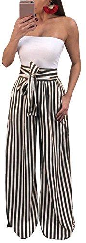 Ybenlow Women's Vertical Striped High Waist Stretch Wide Leg Long Bottom Pallazo Capris Pants with Waist Tie (X-Large, Black)