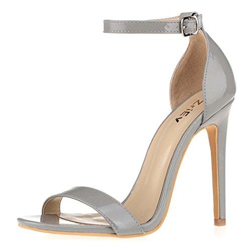 Sexy High Sandals Heeled - ZriEy Women's Heeled Sandals Ankle Strap Dress High Heels Stilettos 11CM Shoes Grey