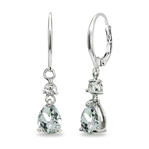 Aquamarine Hoop Earring - Sterling Silver Light Aqumarine & White Topaz 8x6mm Teardrop Dangle Leverback Earrings