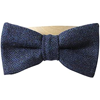 Luxury Blue Harris Tweed /'Sophisticate/' Classic Adjustable Pre-tied Bow Tie