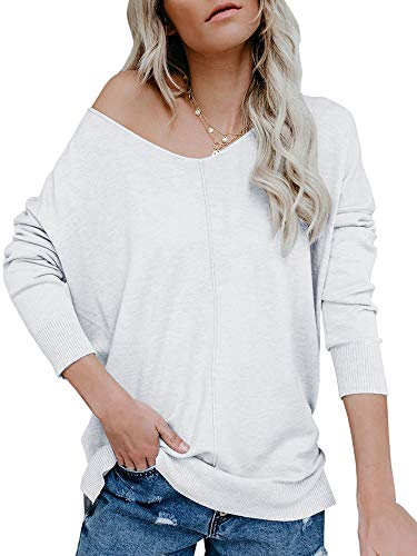 - Ybenlow Womens Off Shoulder V Neck Sweater Batwing Sleeve Oversized Pullover Knit Jumper Slouchy Tunic Tops White