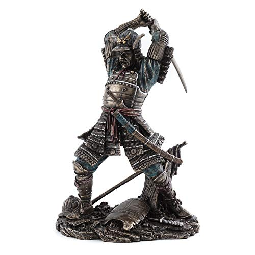 - Top Collection Japanese Bushido Samurai Warrior Statue in Cold Cast Bronze with Martial Arts Sword- 9-Inch Figurine