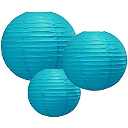 "Quasimoon PaperLanternStore.com 8/12/16"" Turquoise Round Paper Lanterns, Even Ribbing (3-Pack Cluster)"