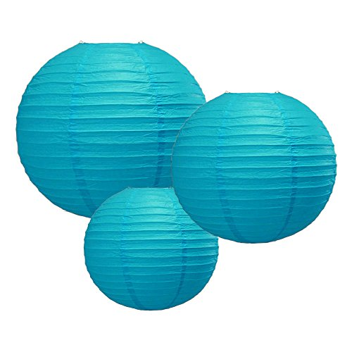 PaperLanternStorecom-81216-Turquoise-Round-Paper-Lanterns-Even-Ribbing-3-Pack-Cluster