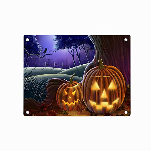 Halloween Hills Fall Leaves Metal Poster Wall Plaque Tin Sign Unique Wall Decor 12 X 8 -