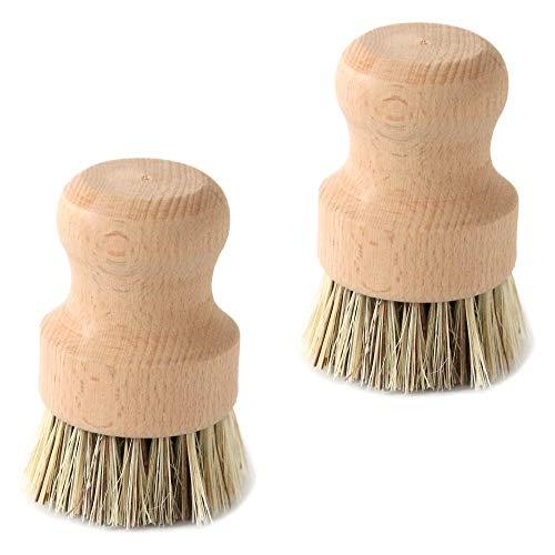 Natural Fiber Pot Brush, SourceTon Durable Untreated Beechwood Handle with Heat Resistant Union Fiber Head