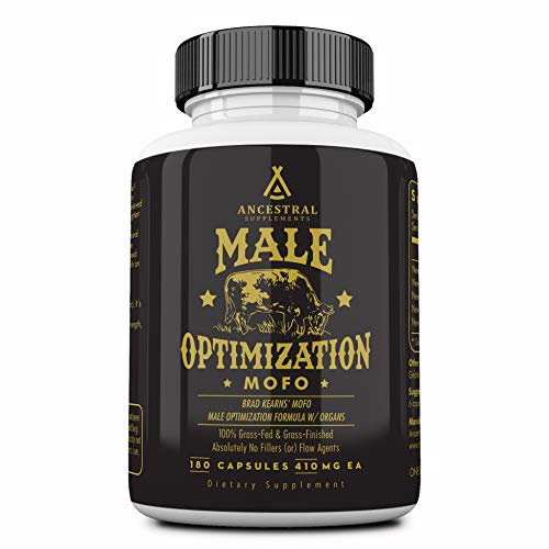 Ancestral Supplements Male Optimization Formula W/Organs (Mofo) – Supports Testosterone, Prostate and Heart Health (180 Capsules)