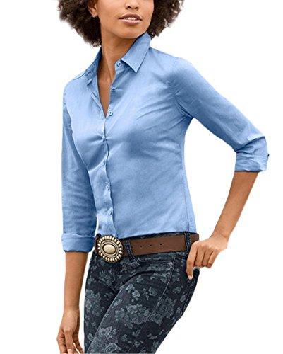 Camicetta Colori Single Solidi Casual Camicie Fashion Bluse Breasted Manica Ufficio Bavero Camicia Sky Donna Moda Tops Blue Slim Fit Donna Lunga Autunno Primaverile Eleganti Grazioso Stlie Bluse 0gBWPqwp