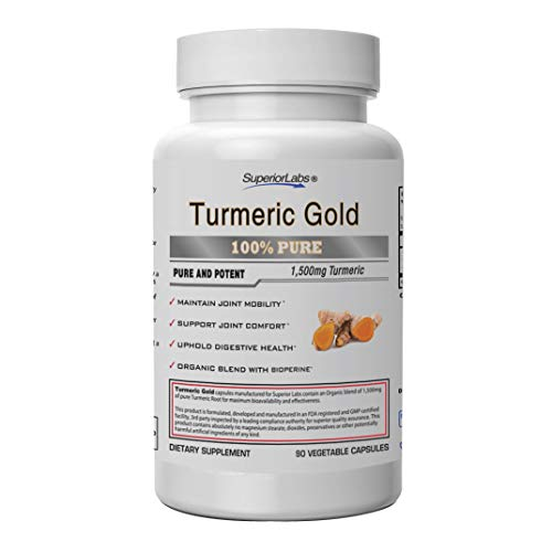 Superior Labs Turmeric Curcumin with BioPerine | Pure NonGMO 1500mg (Organic Blend) | Zero Synthetic Additives - Powerful Formula Joint, Knees, Hips, Immune,