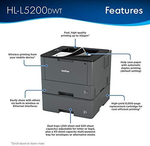 Brother Monochrome Laser Printer, HL-L5200DWT, Duplex Printing, Wireless Networking, Dual Paper Trays, Mobile Printing, Amazon Dash Replenishment Ready 413yeVlESWL