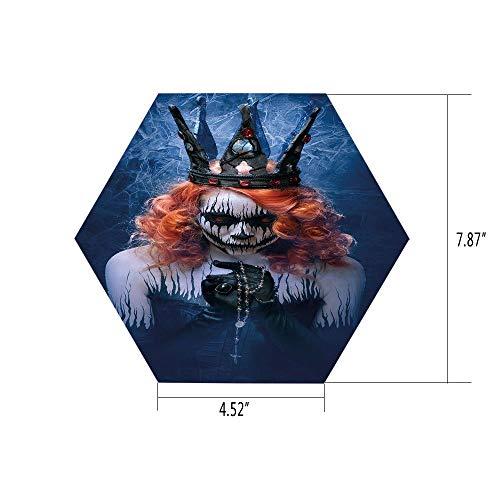 PTANGKK Hexagon Wall Sticker,Mural Decal,Queen,Queen of Death Scary Body Art Halloween Evil Face Bizarre Make Up Zombie,Navy Blue Orange Black,for Home Decor 4.52x7.87 10 Pcs/Set