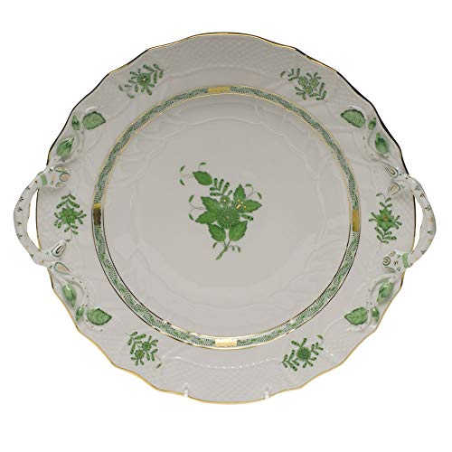 Herend Chinese Bouquet Green Porcelain Chop Plate With Handles