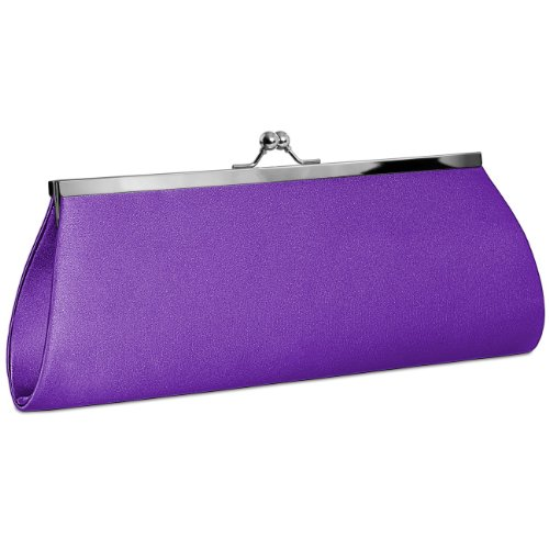 CASPAR Womens Classic Satin Clutch / Evening Bag with Elegant Metal Clasp - many colours - TA309 Purple