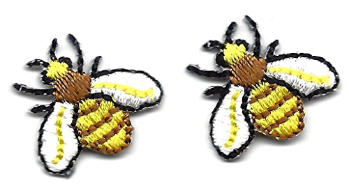 BEES, BROWN, YELLOW & WHITE (2 PC)/Iron On Embroidered Applique Patch/Insects