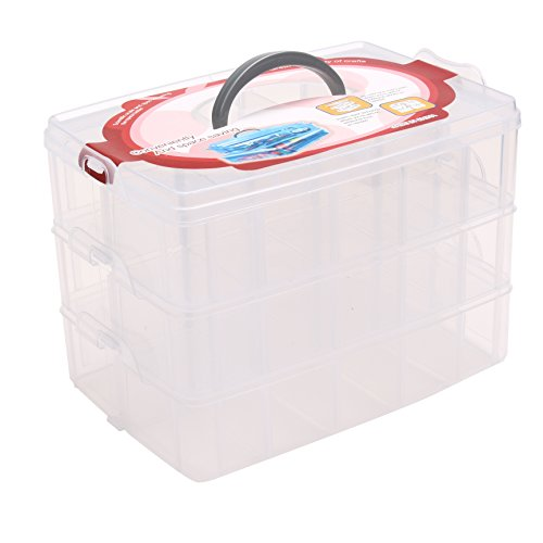 Wisehands Stackable Clear Storage Container Case for Storing Sewing Embroidery Accessories, Threads, Bobbins, Beads, Beauty Supplies, Nail Polish, Jewelry, Arts & Crafts, Large (Sewing Box With Accessories)
