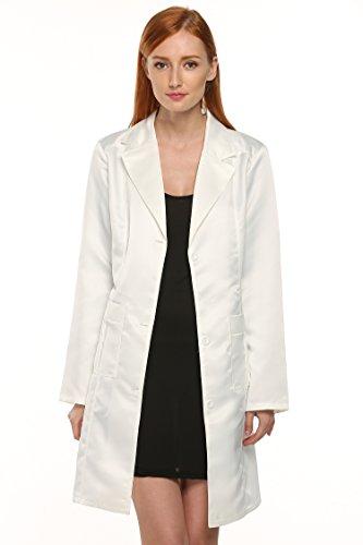 ANGVNS Long Sleeve Lapel Long Windbreaker Outwear Cardigan Coat White XL (Lab Cardigan)