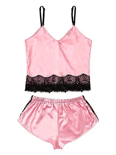 (WDIRARA Women's Floral Lace Satin Sleepwear Cami Top and Shorts Pajama Set Pink M)