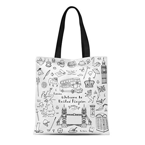 Semtomn Canvas Tote Bag Shoulder Bags Doodle United Kingdom Uk Welcome to London British Symbols Women's Handle Shoulder Tote Shopper Handbag