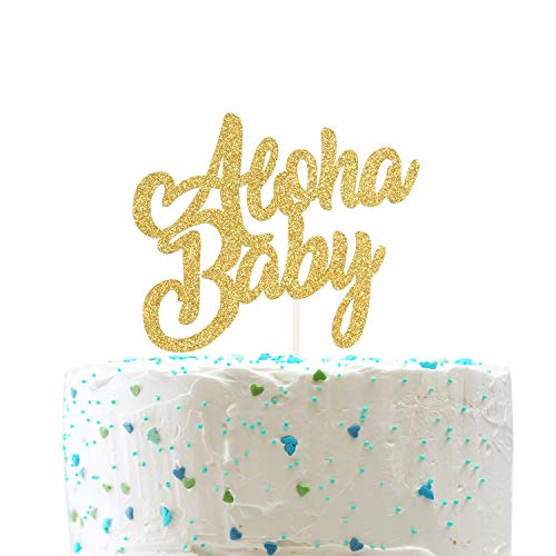 Aloha Baby Cake Topper,Aloha Baby Shower Birthday Cake Topper,Luau Tropical Party Supplies,Summer theme( Double Sided Gold Glitter ) ()