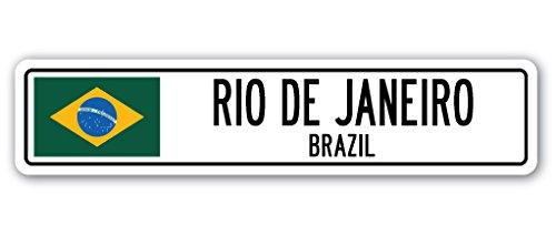 RIO DE JANEIRO, BRAZIL Street Sign Brazilian flag city country road wall (Brazil Party Decorations)