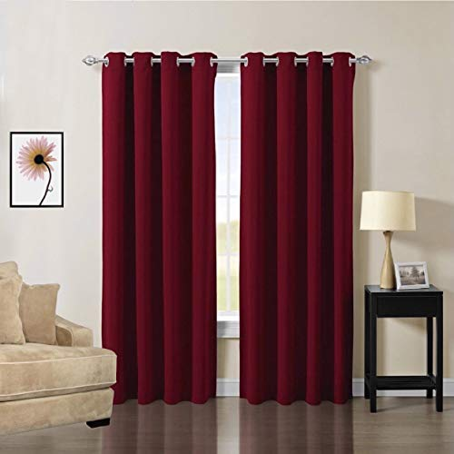 (OCEANLIFESTYLE Home Decoration Curtains, Triple Weave Microfiber Blackout Material Drapes, Thermal Insulated Lined Curtains, Energy Efficient Blackout Shades, 2 Piece 52 x 84 Inch Burgundy Red)