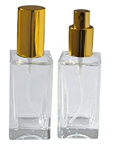 1 2/3 Oz (50 Ml) Empty Refillable Glass Perfume Bottle Atomizer Gold Lid