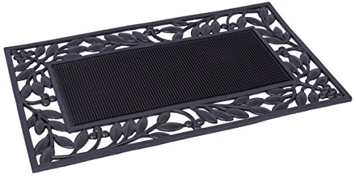 BirdRock Home Rubber Doormat with Leaf Border | 17.72 x 29.92 | Rubber Bristles | Outdoor Doormat | Keeps your Floors Clean | Decorative - Rug Leaf Border