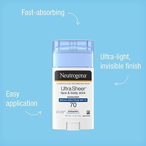 Neutrogena Ultra Sheer Non-Greasy Sunscreen Stick for Face & Body, Broad Spectrum SPF 70 UVA/UVB Sunscreen Stick, PABA-Free, 1.5 oz