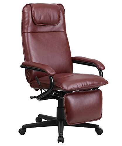 Offex OF-BT-70172-BG-GG High Back Leather Executive Reclining Office Chair, Burgundy - Office Reclining Ottoman