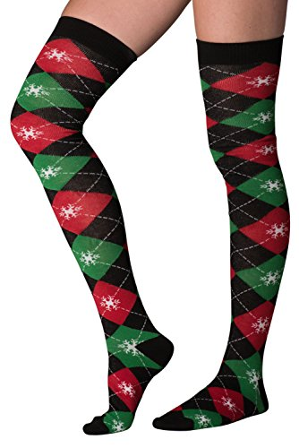Mens & Womens Fun Novelty Holiday Halloween Xmas Socks- One Size Fits Most (One Size Fits Most (Shoe-4-10), Christmas Over The Knee-Black Argyle-1 Pair)