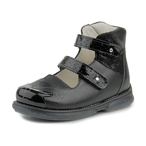 Memo Princessa 3LY Black Corrective Back to School Ankle Support Leather Mary Jane, 28 M EU / 11 M US Little Girl by Memo