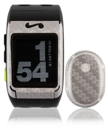 Skinomi® TechSkin - Nike+ SportsWatch GPS Screen Protector + Carbon Fiber Silver Full Body Skin / Front & Back Premium HD Clear Film / Ultra High Definition Invisible and Anti Bubble Crystal Shield